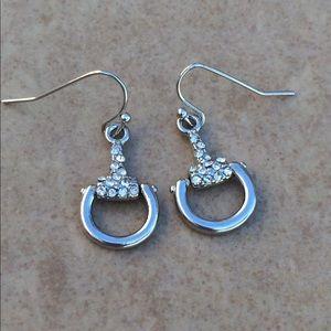 Silver Tone Crystal Horsebit Equine Drop Earrings